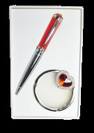 """@$Набор подарочный """"Crystal"""": ручка шариковая + крючек д/ сумки, красный"""