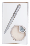 """@$Набор подарочный """"Crystal"""": ручка шариковая + крючек д/ сумки, серый"""
