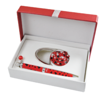 """@$Набор подарочный """"Elegance"""": ручка шариковая + крючек д/ сумки, красный"""