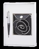 """@$Набор подарочный """"Floret"""": ручка шариковая + кошелек для монет + зеркальце, черный"""