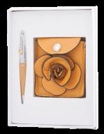 """@$Набор подарочный """"Floret"""": ручка шариковая + кошелек для монет + зеркальце, желтый"""
