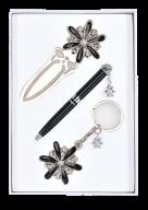 """Набор подарочный """"Star"""": ручка шариковая + брелок + закладка, черный"""