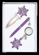 """Набор подарочный """"Star"""": ручка шариковая + брелок + закладка, фиолетовый"""