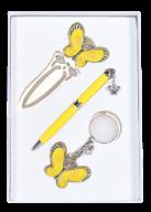 """@$Набор подарочный """"Fly"""": ручка шариковая + брелок + закладка, желтый"""