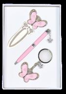 """@$Набор подарочный """"Fly"""": ручка шариковая + брелок + закладка, розовый"""