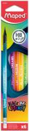 Набор карандашей графитовых BLACK PEPS ENERGY HB, c ластиком, коробка з подвесом (6шт.)