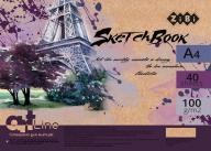 /Скетчбук, А4, 40 л., 100 г/м2, кремовый блок, на пружине, фиолетовый, ART Line