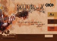/Скетчбук, А4, 40 л., 100 г/м2, белый блок, на пружине, коричневый, ART Line