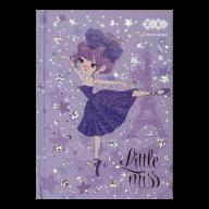/Блокнот LITTLE MISS, А6, 64 л., клетка, тв. обл., мат. ламин.+лак, фиолетовый, KIDS Line