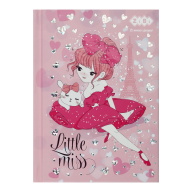 /Блокнот LITTLE MISS, А6, 64 л., клетка, тв. обл., мат. ламин.+лак, розовый, KIDS Line
