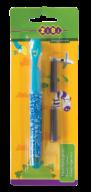 @$Ручка перьевая (открытое перо) + 2 капсулы, голубой корпус с рисунками, карт. блистер, KIDS Line