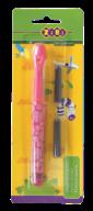 @$Ручка перьевая (открытое перо) + 2 капсулы, розовый корпус с рисунками, картонный блистер, KIDS Li
