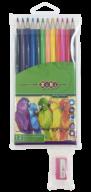 $Карандаши цветные, 12 цветов, SMOOTH, ПВХ пенал + точилка
