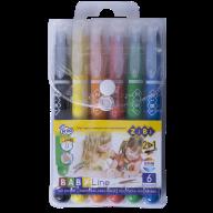 Пастель масляная шелковая с акварельным эффектом, корпус JUMBO, 6 цветов, BABY Line