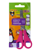 Ножницы детские 132мм с линейкой, розовый, KIDS Line