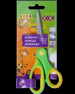 @Ножницы детские 152 мм с гибким резиновым кольцом и резиновыми вставками, салатовые, KIDS Line