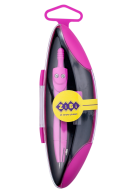 Циркуль START NEON в твердом футляре, с запасным грифелем, розовый, KIDS Line