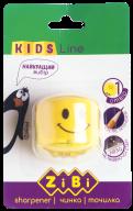 @$Точилка СМАЙЛИК с контейнером, 1 отв., в блистере,  желтый, KIDS Line