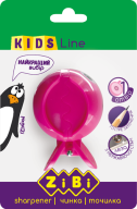 @$Точилка ПИРАНЬЯ с контейнером, 1 отв., розовая , блистер, KIDS Line