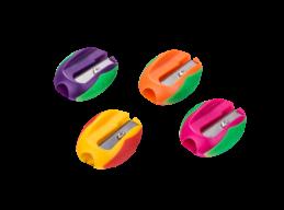 #@$Точилка для карандашей овальная, 1 отв., банка, ассорти, KIDS Line