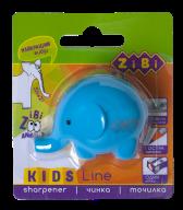 @$Точилка СЛОНИК с контейнером, 1 отв.. блистер, голубой, KIDS Line