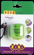 #@$Точилка СМАЙЛИК с контейнером, 2 отв., салатовая, блистер, KIDS Line