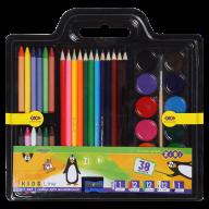 Набор для рисования (краски, цв.карандаши, мелки восковые, кисть натуральная, точилка), KIDS Line
