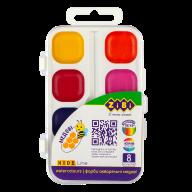 Акварельные водорастворимые краски, 8 цветов,пласт. корпус,  белая. KIDS Line