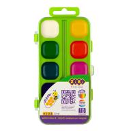 ^Акварельные водорастворимые краски, 10 цветов,пласт. корпус, , салатовая. KIDS Line