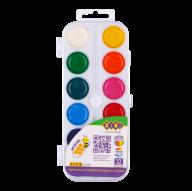 ^Акварельные водорастворимые краски, 12 цветов,пласт. корпус,    белая . KIDS Line
