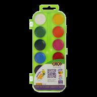 ^Акварельные водорастворимые краски, 12 цветов,пласт. корпус,   салатовая. KIDS Line