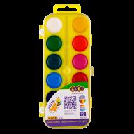 Акварельные водорастворимые краски, 12 цветов,пласт. корпус,   желтая . KIDS Line