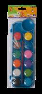 Акварель сухая, 12 цветов, пласт./кор., с кистью, синий, KIDS Line