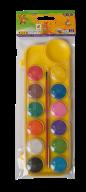Акварель сухая, 12 цветов, пласт./кор., с кистью, желтый, KIDS Line