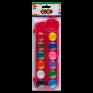 Акварель сухая, 12 цветов, пласт./кор., с кистью, розовый, KIDS Line