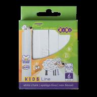 @$/Мел белый квадратный, 6 шт., картонная коробка, KIDS Line