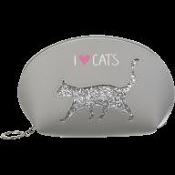 Пенал CAT LOVER, 21x12x8 см, серый (декор: глиттерный кот)