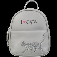 Рюкзак CAT LOVER 24x21x8 см, серый (декор: глиттерный кот)