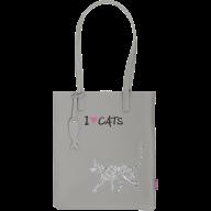 Сумка на плечо CAT LOVER, 29x35x3 см, серая (декор: глиттерный кот)