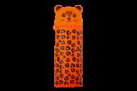 Пенал силиконовый ЛЕОПАРДИК, 19х6 см, оранжевый