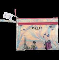 Папка А4 PARIS, 33х25.5х1см, 2 отдел., голограф.иск.кожа, розовый и серебро