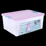 """/Контейнер Smart Box с декором """"Pet Shop"""" 7,9л, прозрачный/розовый/бирюзовый"""