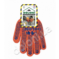 /Перчатки трикотажные рабочие ДОЛОНИ, 526, оранжевые с точкой, плотность 5 ниток
