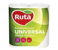 "/Полотенца целлюлозные ""Universal"", по 2 рул., на гильзе, 2-х сл., белый RUTA"
