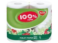"/Бумага туал. ""100% Paper"" 4 рул., на гильзе, 2-х сл., белый RUTA"
