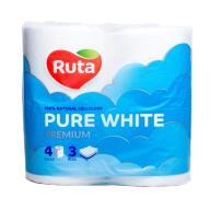 """/Бумага туал. """"Pure White"""" 4 рул., на гильзе, 3-х сл., белый RUTA"""