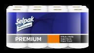 /Полотенца целлюлозные Premium, по 8 рул., на гильзе, 3-х сл., белый SELPAK PRO
